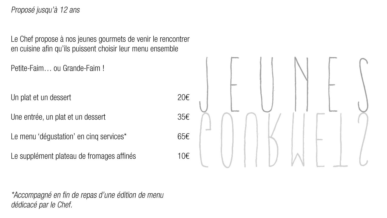 Menu enfant Saint James